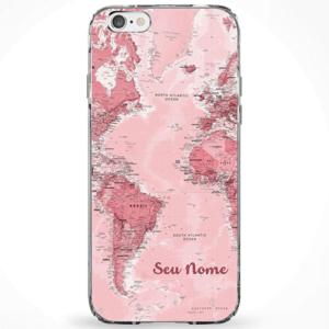 Capinha Mapa Mundi Rosa Com Nome